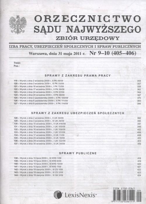 Orzecznictwo Sądu Najwyższego zbiór urzędowy 9-10/2011