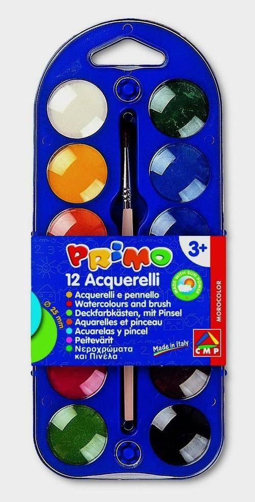 Farby wodne w pastylkach Primo 12 kolorów + pędzelek