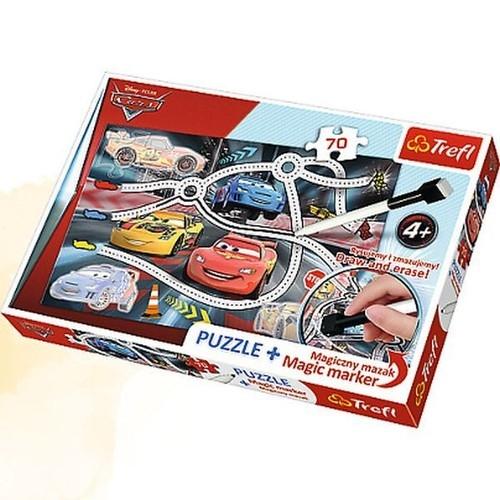 Puzzle Plus 70 + Magiczny mazak Auta Ekscytujący wyścig