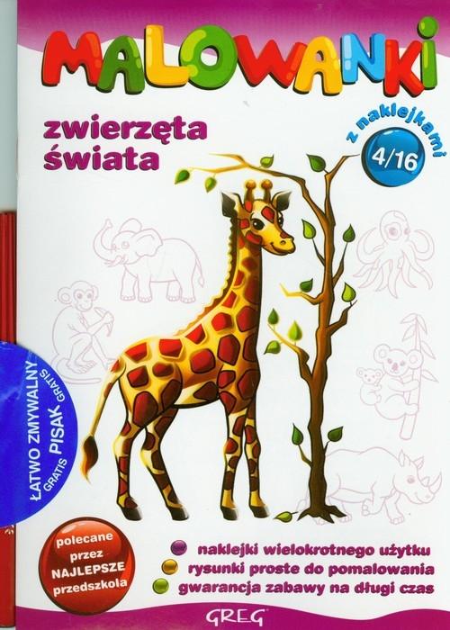 Malowanki 4 Zwierzęta świata + pisak
