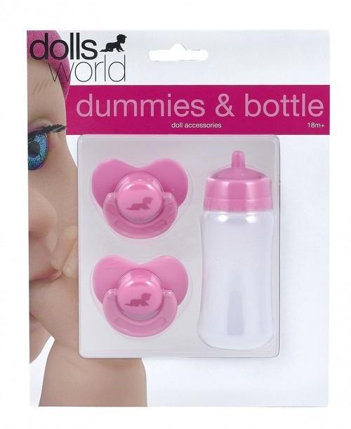 Akcesoria dla lalek dwa smoczki i buteleczka z mlekiem
