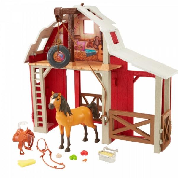 Zestaw z figurką Mustang: Duch wolności Stajnia i koń (HBP29)