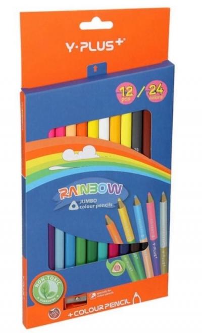 Kredki Jumbo Rainbow dwustronne + temper. 24 kol