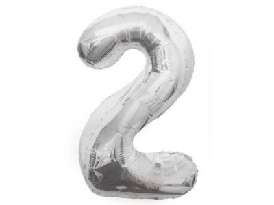 Balon Cyfra NR.2 srebrny 81CM