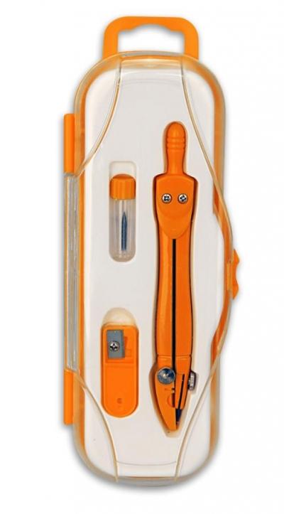 Cyrkiel szkolny PC-101 + grafit 2mm pomarańczowy