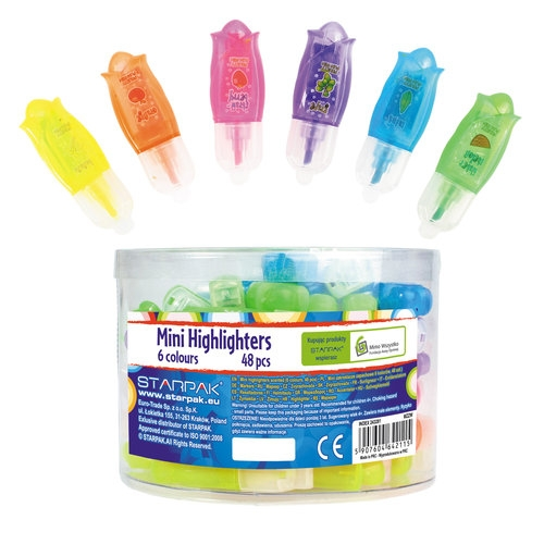 Zakreślacz mini zapachowy 6 kolorów 48 sztuk w tubie