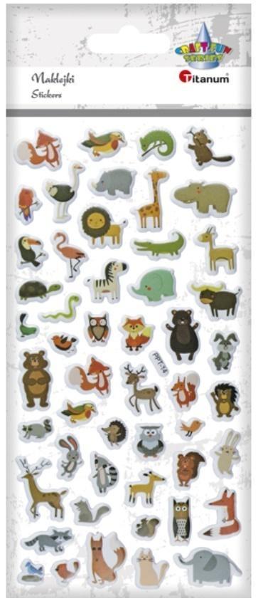 Naklejki wypukłe miękkie zwierzęta mix 51szt