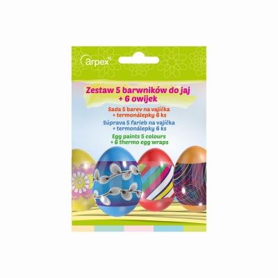 Dekoracja jajek Arpex barwniki do jaj 5 kolorów +owijka do jajek 6 sztuk (SW0116)