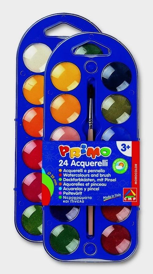 Farby wodne w pastylkach Primo 24 kolory + pędzelek