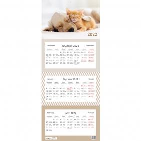 Kalendarz 2022 trójdzielny 82,5x34cm - Zwierzaki