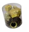 Komplet ozdób choinkowych w tubie - złoty