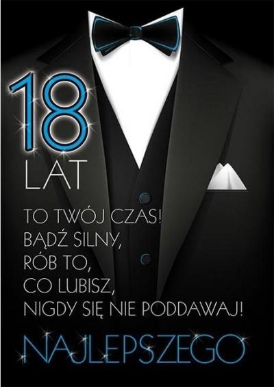 Karnet Party naklejany B6+koperta Urodziny 18 wz11