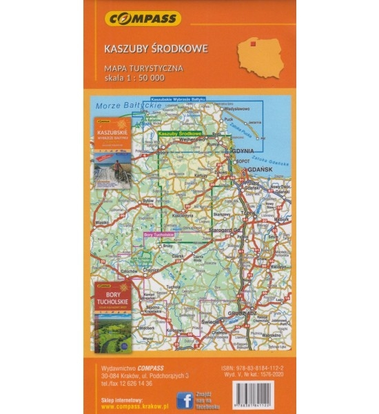 Kaszuby Środkowe 1:55 000 - mapa wodoodporna turystyczna (1576-2020)