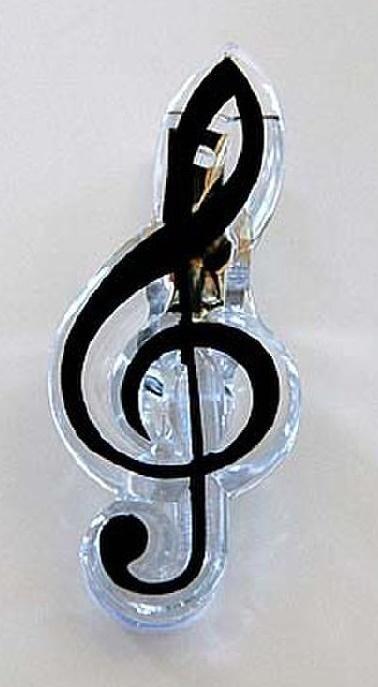 Spinacz ozdobny - klucz wiolinowy czarny
