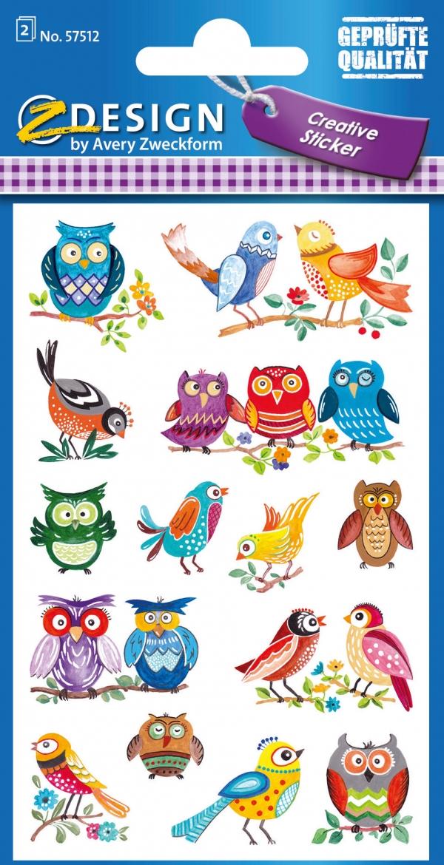 Naklejki papierowe - sowy, ptaki (57512)