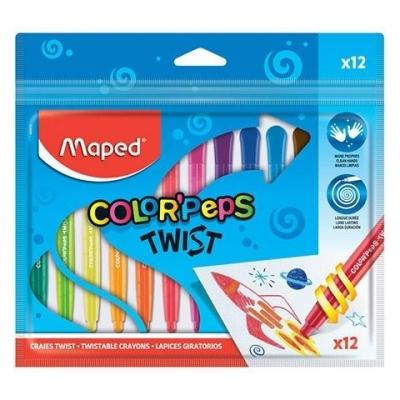 Kredki Twist świecowe wykręcane 12 kolorów MAPED