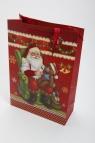 Torebka świąteczna 3D pionowa duża Święty Mikołaj