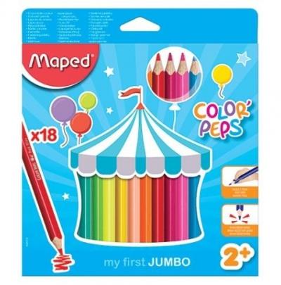 Kredki Colorpeps Jumbo trójkątne 18 kolorów MAPED
