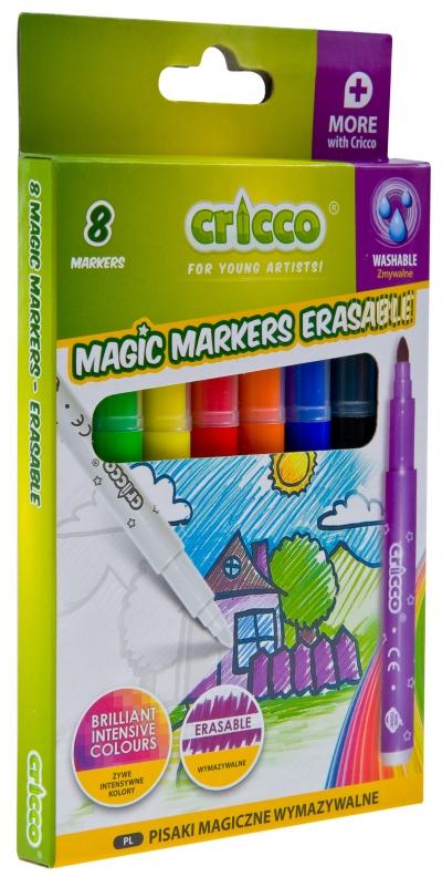 Pisaki wymazywalne magiczne Cricco, 7+1 kol. (CR387K8)