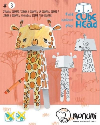 Żyrafa. Cube head. Złóż i pokoloruj praca zbiorowa