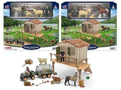 Figurka Adar zestaw farma - budynek, zagroda, zwierzęta, narzędzia, ludzik (523128)