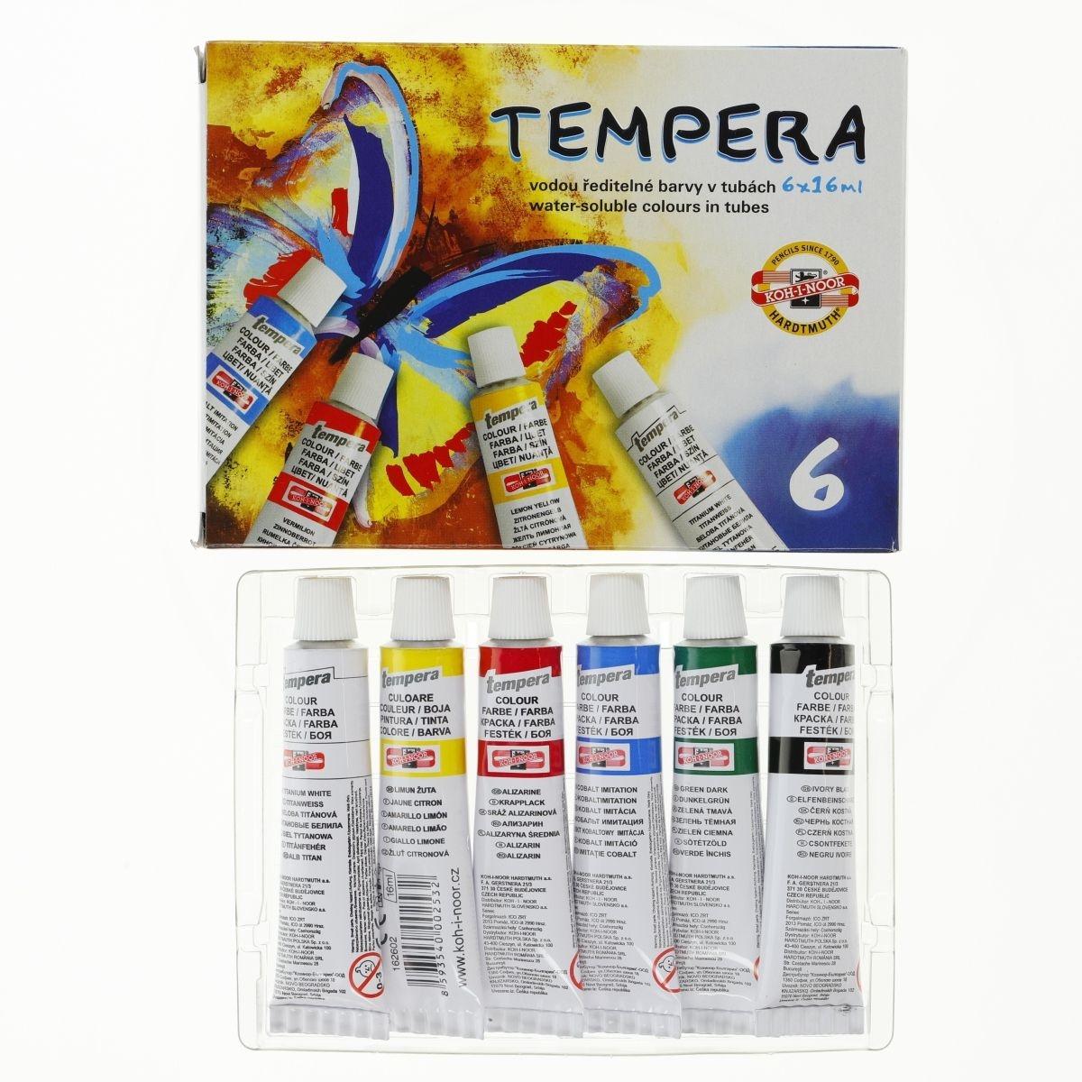 Farby Tempera 6x16ml, 6 kolorów (85734)