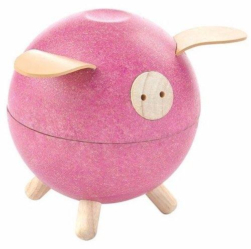 Drewniana skarbonka świnka, różowa (PLTO-8612) (Uszkodzone opakowanie)