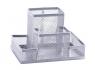 Przybornik na biurko Q-Connect 4 przegrody metalowy srebrny (KF15113)
