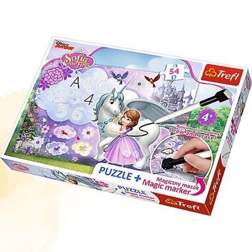 Puzzle Plus 54 elementy + Magiczny mazak Jej Wysokość Zosia Zosia i jednorożec