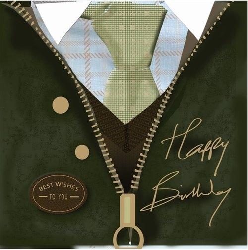 Karnet kwadrat z kopertą Urodziny Birthday Wax Jacket