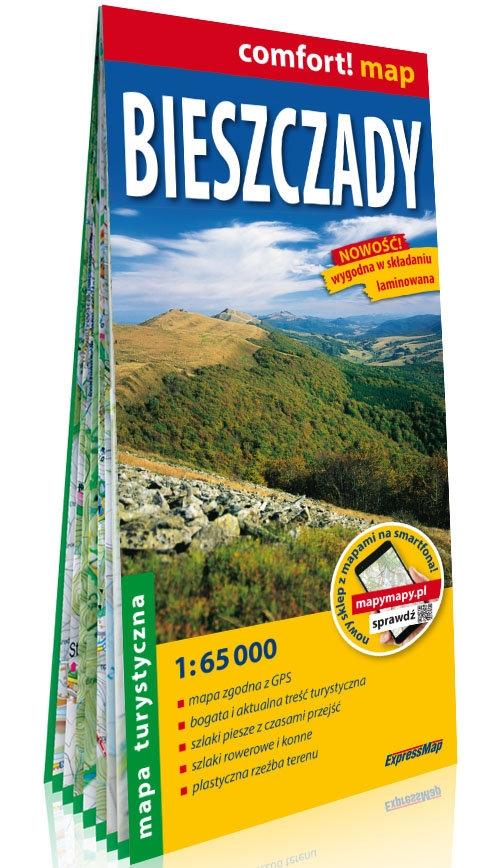 Bieszczady; laminowana mapa turystyczna 1:65 000
