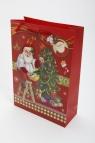Torebka świąteczna 3D pionowa średnia Święty Mikołaj
