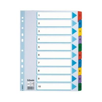 Przekładka numeryczna Esselte Mylar kartonowe A4 (mix) 1-10  mylar 160g (100161) .