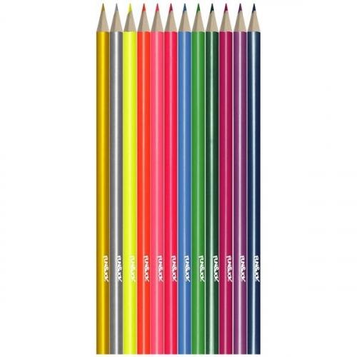 Kredki ołówkowe Fun&Joy neonowo-metalizowane trójkątne 12kol. 12 kol. (394420)