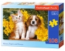 Puzzle Kitten, Puppy and Flowers 108 elementów (010134)