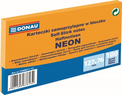 Notes samoprzylepny Donau Neon pomarańczowy 100k 127 mm x 76 mm (7588011-12)