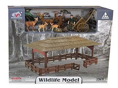 Figurka Adar zestaw mini zoo - zagroda, dzikie zwierzęta, narzędzia, ludzik (523135)