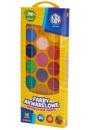 Farby akwarelowe Astra 18 kolorów - fi 23,5 mm w pudełku (302118003)