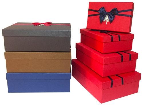 Zestaw pudełek - prostokąt kokarda 4 sztuki czerwony