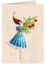 Karnet drewniany C6 + koperta Kobieta z kwiatami