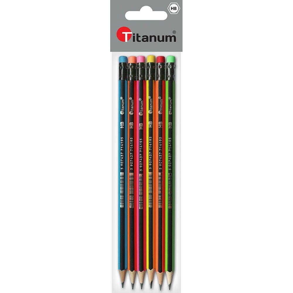 Ołówki Titanum z gumką sześciokątne neonowo-czarne paski, HB - 6 szt. (394416)