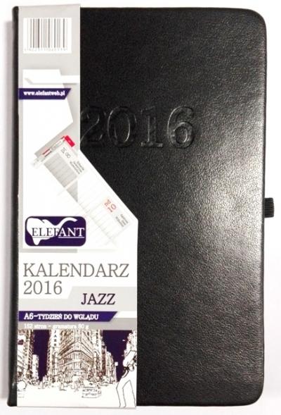 Kalendarz A6 Jazz czarny tygodniowy (TDW) 2016 .