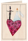 Karnet drewniany C6 + koperta Ślub serce