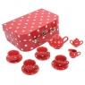 Porcelanowy zestaw do herbatki Polka czerwony