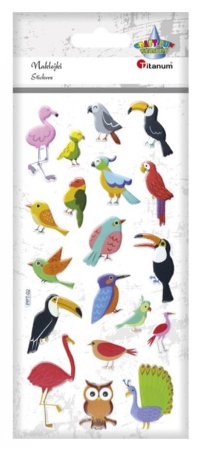 Naklejki wypukłe miękkie ptaki egzotyczne 19szt