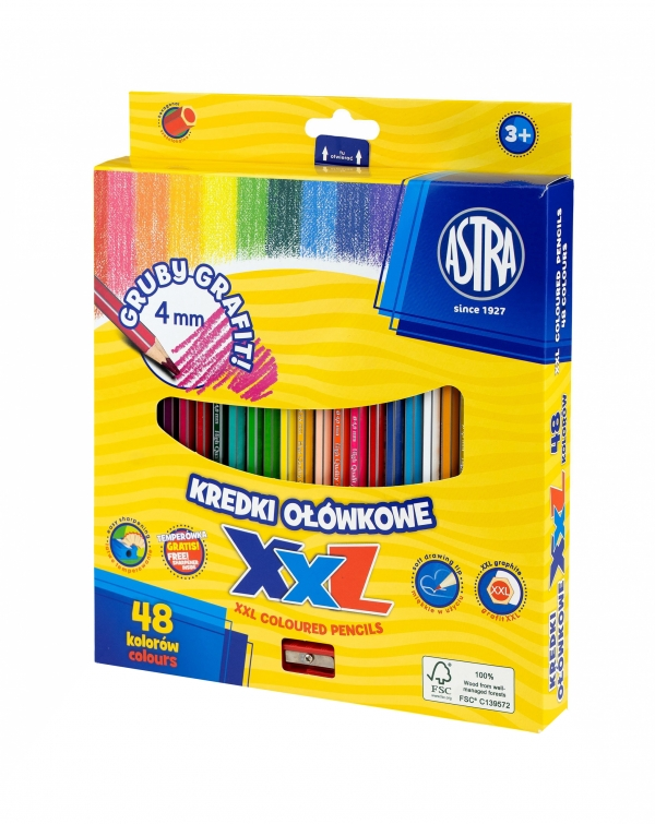 Kredki ołówkowe grafitowe 4mm - 48 kolory