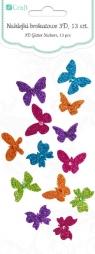 Naklejki brokatowe 3d - motylki, 13 szt. (DPNB-012)