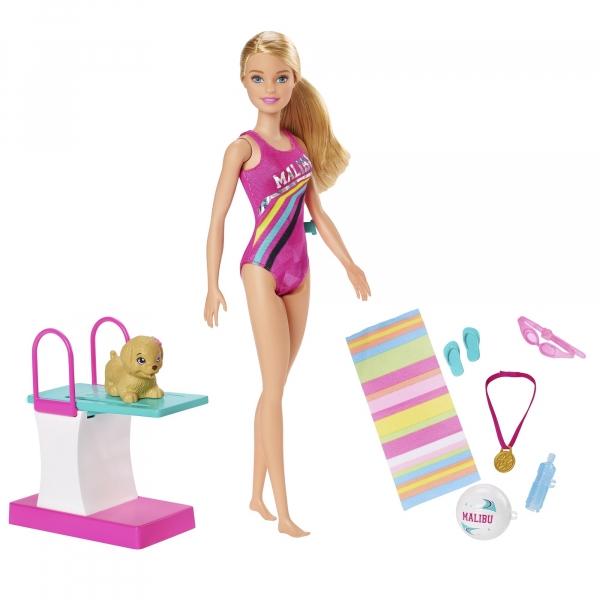 Barbie: Lalka pływaczka z pieskiem (GHK23)