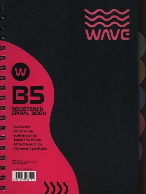 Kołozeszyt B5 Wave w kratkę 120 kartek różowy