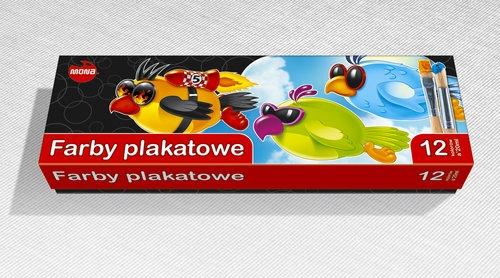 Farby plakatowa 20 ml 12 intensywnych kolorów
